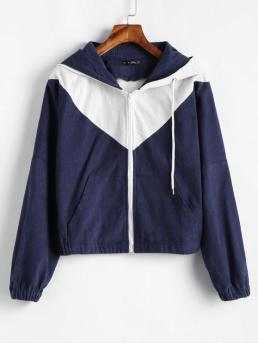No Autumn and Spring Pockets Patchwork Hooded Full Short Wide-waisted Fashion Jackets Daily and Going Two Tone Corduroy Jacket