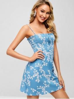 No Spring and Summer Floral Sleeveless Spaghetti Mini Sundress A-Line Day Cute Shirred Floral Sundress