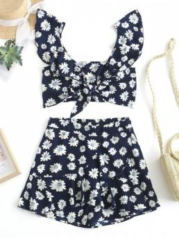 No Summer Flounce Floral Flat Elastic High Short Plunging Regular Fashion Casual and Daily and Going Knotted Floral Top and Flounce Shorts Set