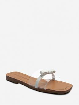 Summer PU and PVC 1CM Rubber Bowknot Slip-On Flat Gladiator Casual and Daily Sweet For Square Toe Bow Clear Flat Slides