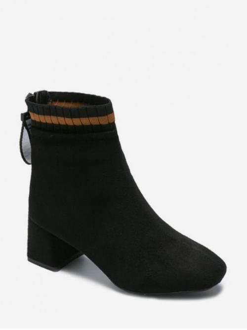 Fashion Suede Slip-On Solid Chunky Square Ankle Spring/Fall Fashion For Suede Square Toe Solid High Heel Boots
