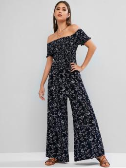 Fall and Spring and Summer Yes Sashes Floral Nonelastic Short Off Normal Regular Fashion Daily and Going Smocked Ditsy Floral Off Shoulder Wide Leg Jumpsuit