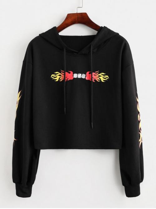 Autumn and Spring and Winter Flame Full Short Drop Hooded Crop Drawstring Cropped Flame Print Hoodie