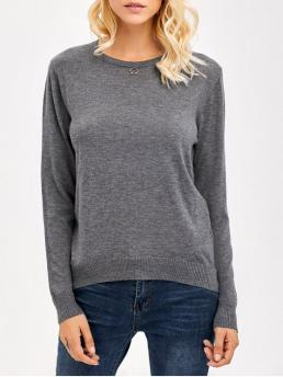 Fall and Spring and Winter Solid Casual Round Full Pullovers Comfy Knitwear