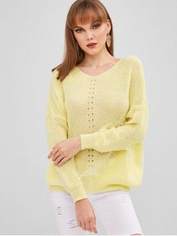 Full Sleeve Pullovers Polyacrylic Solid Faux V Neck Sweater on Sale