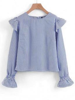 Autumn and Spring Striped Full Regular Round Fashion Casual Long Sleeve Ruffles Striped Blouse