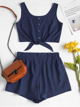 Summer Solid Pleated Elastic High Sleeveless Scoop Regular Casual Beach Sleeveless Button Up Crop Top and Shorts Set