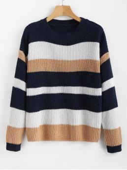 Autumn and Winter Striped Elastic Full Drop Round Regular Regular Fashion Daily Pullovers Casual Drop Shoulder Stripes Sweater