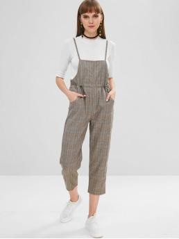 Fall and Spring No Button Plaid Sleeveless Spaghetti Capri Regular Casual Daily Drawstring Plaid Cami Capri Jumpsuit