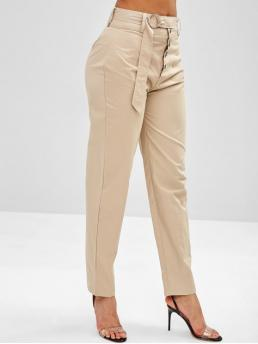 Fall and Spring No Button Straight Solid Regular High Fashion High Waisted Button Fly Straight Pants