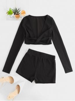 No Fall and Summer Solid Flat Elastic Mid Long Plunging Regular Sexy Daily and Going Ribbed Plunging Twisted Co Ord Set