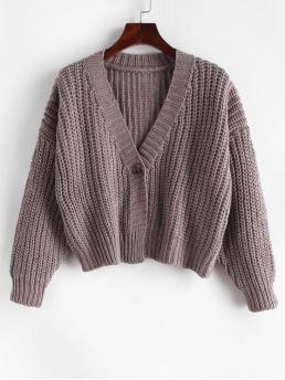 Autumn and Spring and Winter Button Solid Single Elastic Full Drop V-Collar Short Regular Fashion Daily and Going Pullovers Button Front Chunky Cropped Cardigan