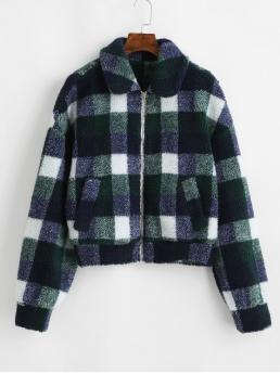 Autumn and Winter Plaid Triple Turn-down Drop Full Regular Wide-waisted Fur Daily Casual Checked Drop Shoulder Fuzzy Teddy Coat