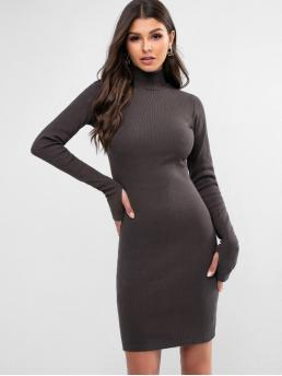No Fall Solid Long High Mini Sheath Casual Casual High Neck Solid Thumbhole Sheath Dress