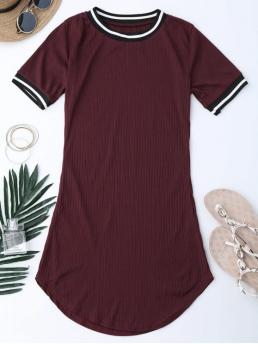 No Summer Striped Short Round Mini A-Line Casual and Day Fashion Ribbed Striped Panel Mini Dress