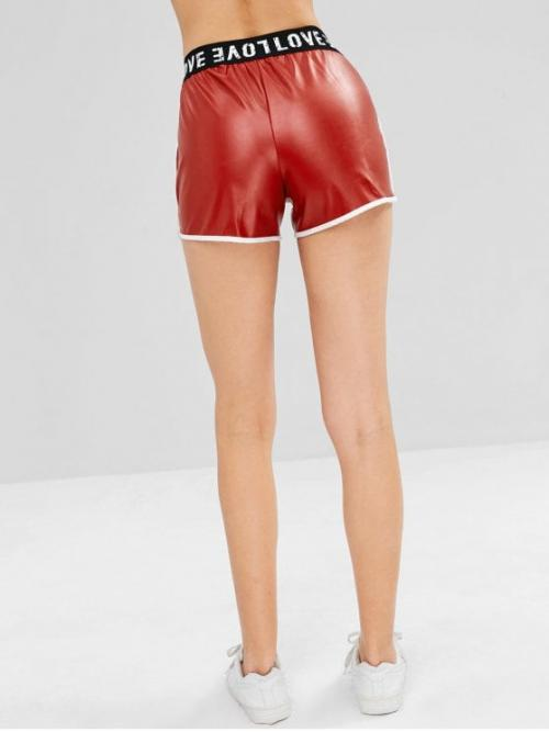 Autumn and Spring Letter Flat Elastic High Regular Fashion Faux Leather Letter Graphic Shorts