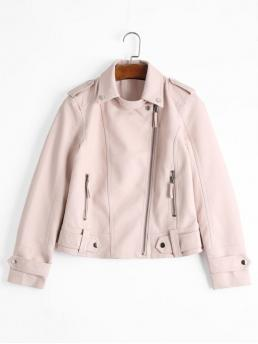 Zippers Solid Turn-down Full Wide-waisted Fashion Jackets Zipper Pockets Faux Leather Jacket