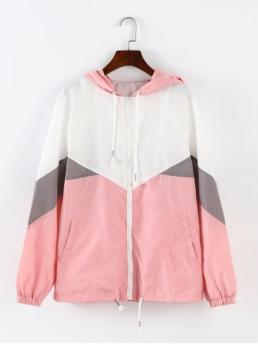 Others Hooded Full Wide-waisted Casual Jackets Color Block Hooded Windbreaker Jacket