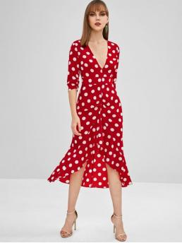 No Fall and Spring Polka 3/4 V-Collar Mid-Calf High Cocktail Elegant Ruffled Polka Dot Ruched Midi Dress