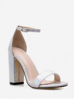 Summer PU 11cm Others Buckle Chunky Ankle Club and Dress Fashion For Iridescent PU Leather Sandals