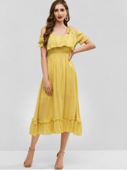 No Summer Empire Solid Flounce Short Square Mid-Calf A-Line Day and Vacation Casual Tie Shoulder Cold Shoulder Flounce Dress
