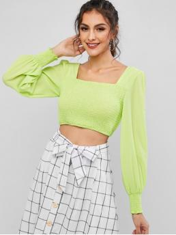 Autumn and Spring Solid Full Short Square Fashion Club and Daily Neon Smocked Square Neck Crop Blouse