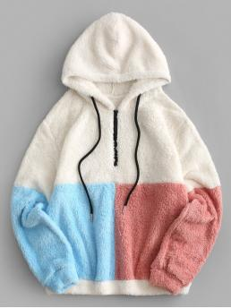 Autumn and Spring Others Full Regular Drop Hooded Hoodie Colorblock Quarter Zip Teddy Hoodie
