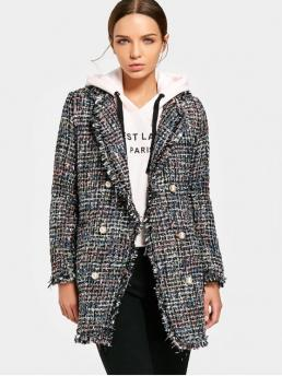 Frayed Solid Lapel Full Slim Wool Fashion Heathered Double-breasted Tweed Coat