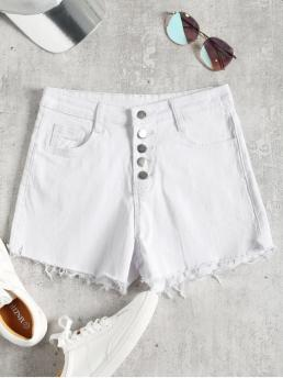 Frayed and Pockets Solid Flat Button High Skinny Casual High Waisted Denim Cutoff Shorts