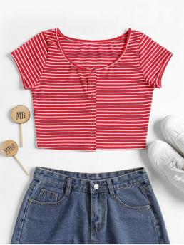 Summer Striped Short Scoop Casual Striped Ribbed Crop Top
