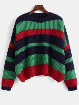 Autumn and Spring Elastic Full Crew Short Regular Fashion Pullovers Color Block Chunky Crop Sweater