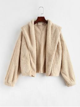 No Autumn and Winter Pockets Solid Hooded Full Short Wide-waisted Fashion Jackets Daily and Going Open Front Fluffy Teddy Jacket