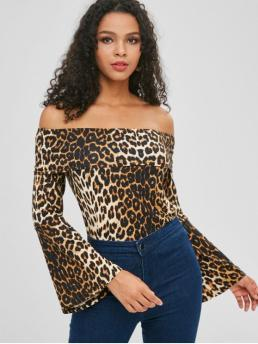 Leopard Full Flare Regular Off Casual Daily Leopard Print Off Shoulder Blouse