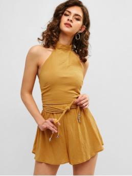 Summer Solid Flat Elastic Mid Sleeveless Halter Loose Casual Casual and Going Knotted Crop Top and Loose Shorts Set
