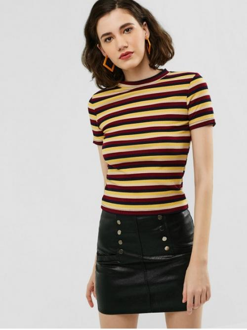 Summer Striped Short Round Casual Short Sleeves Contrast Striped Tee