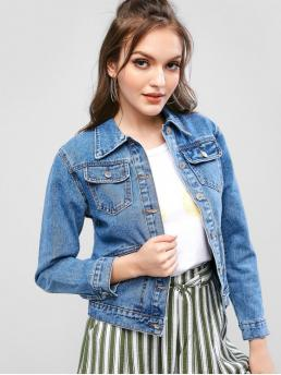 No Autumn and Spring Front Solid Single Shirt Full Regular Wide-waisted Casual Jackets Daily Front Pocket Button Up Denim Jacket