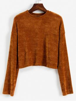 Autumn Solid Nonelastic Full Drop Crew Short Shift Fashion Daily Pullovers Corduroy Cropped Sweater