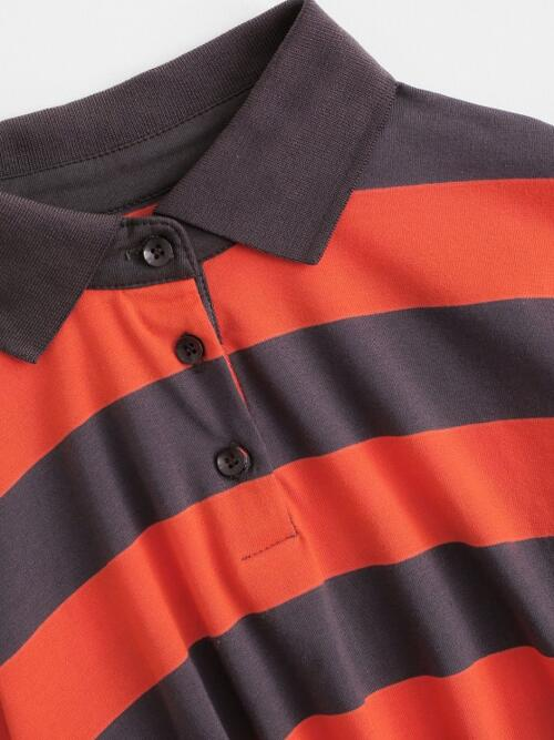 Womens Full Sleeve Cotton,polyester Striped Orange Front Raw Hem Collared Stripes Tee