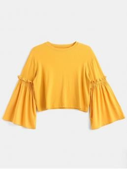 Autumn and Spring Solid Spliced Elastic Full Flare Crew Regular Cute Splicing Bell Sleeves Tee