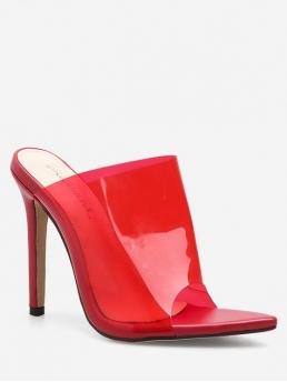 PVC Rubber Solid Slip-On Stiletto Slides Party Fashion For Open Toe Clear Super High Heel Slides