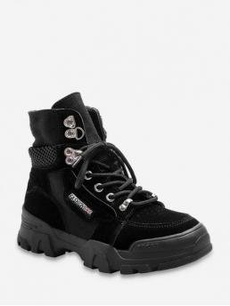 Casual Canvas Lace-Up Patchwork 5CM Chunky Round Ankle Fall and Spring Fashion For Casual Patch Platform Ankle Boots