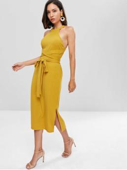 Summer No Solid Criss-Cross and Slit Sleeveless Round Mid-Calf Casual and Night Slit Cut Out Midi Dress