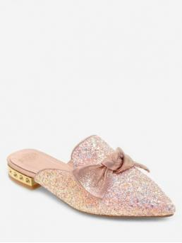 Summer PU 2CM Sequined Bowknot Slip-On Chunky Slides Daily Sweet For Glitter Bow Sequins Low Heel Slides