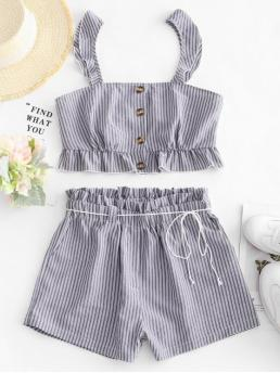 No Summer Ruffles Striped Flat Elastic High Sleeveless Square Regular Casual Casual and Daily Striped Ruffle Paperbag Shorts Set