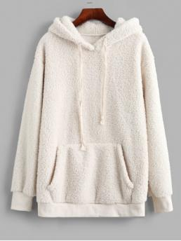 Winter Front Solid Full Regular Hoodie Kangaroo Pocket Drawstring Tunic Fluffy Teddy Hoodie