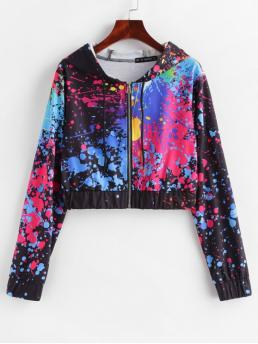 Autumn and Spring Paint Full Short Hooded Hoodie Splatter Paint Cropped Zip Up Hoodie