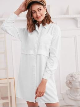 No Fall and Spring Solid Pockets Long Drop Shirt Mini Shirt Straight Casual  and Day Brief Drop Shoulder Chest Pocket Tunic Shirt Dress