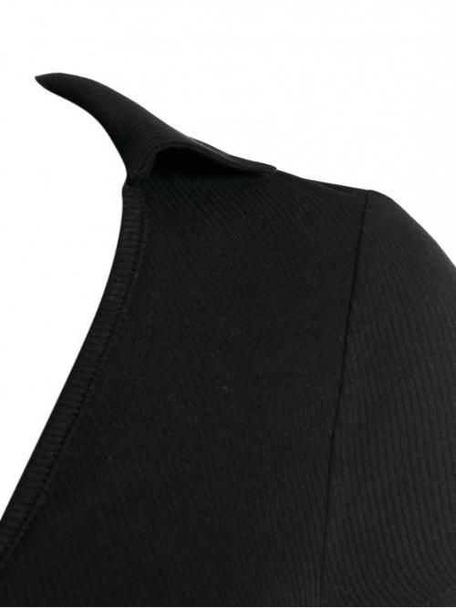 Short Sleeve Polyurethane,rayon Solid Black Ribbed Ring Plunge Crop Tee Affordable
