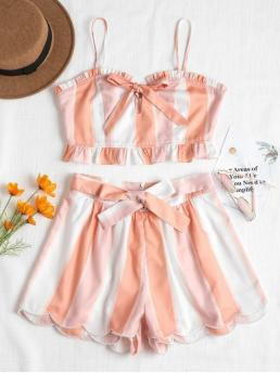 Summer Striped Flat Zipper High Sleeveless Spaghetti Regular Fashion Casual and Going Tie Front Top and Scalloped Shorts Set