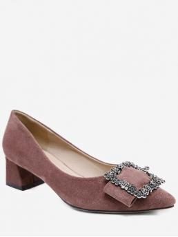 4CM Spring/Fall Suede TPR Office Chunky Pointed Closed Basic Rhinestone Suede Block Heel Pumps